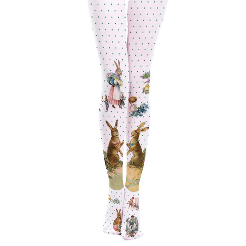 2017 new pantyhose wave point cute rabbit cartoon high stovepipe personality printed female
