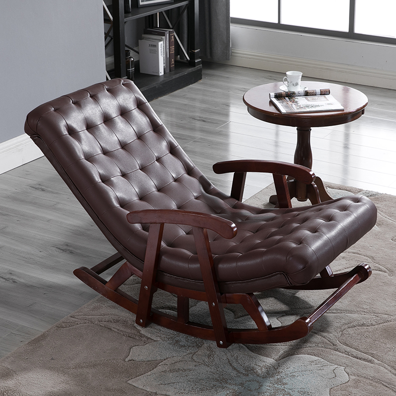 Modern Leather&Wood Rocking Lounge Chair Armchair Living ...