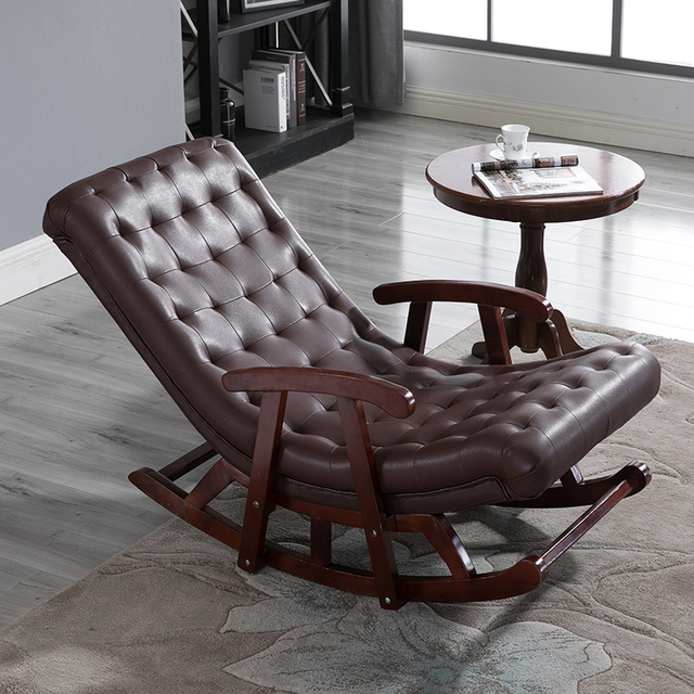 Modern Leather Wood Rocking Lounge Chair Armchair Living Room Bedroom Furniture Comfortable Relax Rocker