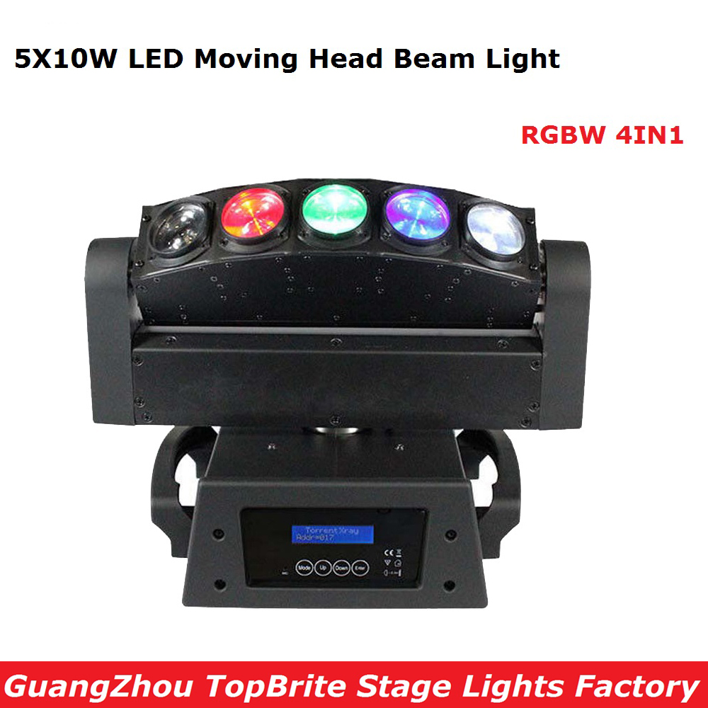 2017 Factory Price 5 Heads Led Beam Moving Head Wash Light 5X10W RGBW 4IN1 LED Moving Head Stage Lighting 100-240V Fast Shipping 8pcs lot free shipping best lighting led moving head spot led 90w moving heads factory price