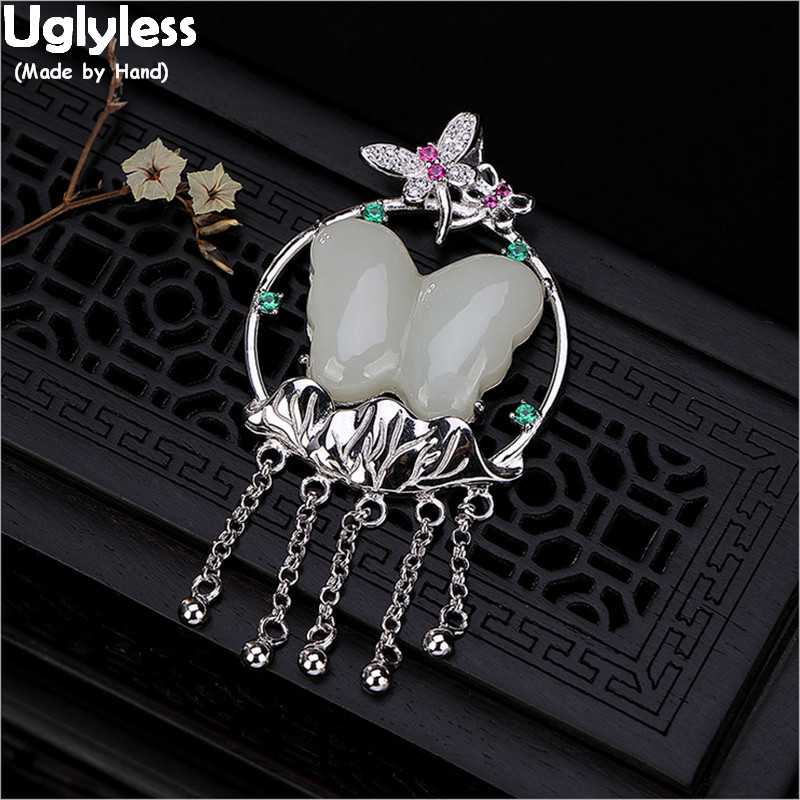 Uglyless Real 925 Sterling Silver Lotus Leaf Pendants for Women Ethnic Chains Tassel Necklaces NO Chains Jade Butterfly Jewelry