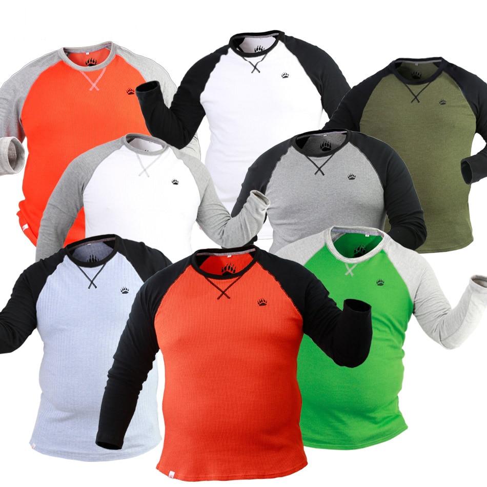 Gay Bear griffe patte hommes col rond coton grande taille manches longues T-shirts automne hiver chaud pull de base 8 couleurs M L XL XXL