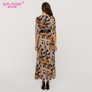 Image 5 - S. Smaak Vrouwen Klassieke Retro Toevallige Lange Jurk 2020 Zomer Mode Lantaarn Mouw O hals Boho Jurk Voor Vrouwelijke Vestidos