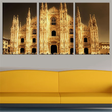 2016 Unframed 3pcs golden stunning architecture cathedral from milan Art Printed On Canvas Oil Painting Home Decor wall picture