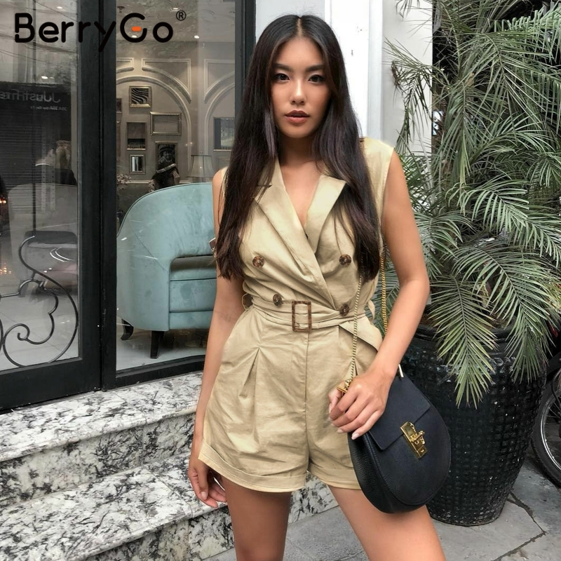 7f70585e31 BerryGo women rompers Elegant sashes khaki playsuit Summer womens jumpsuit  Office ladies playsuit pockets button zipper rompers ~ Premium Deal May 2019