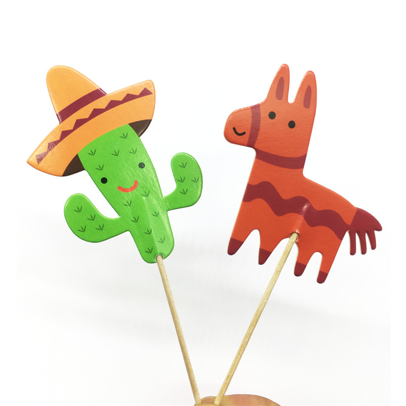 24pcs Mexican Style Cactus Pony Horse Cake Toppers Wedding Decoration Festival Party Cupcake Decor Sticks