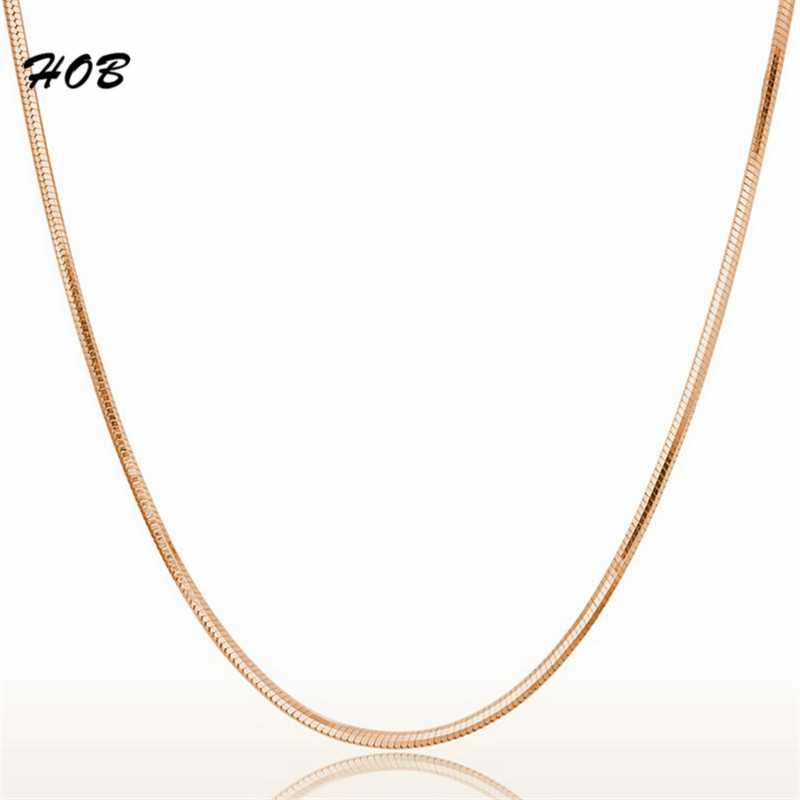 2017 New 1.5 MM Width Rose Gold Color Snake Chain Necklaces For Women Elegant Fashion Necklace Wholesale Jewelry 45cm TFSJ031