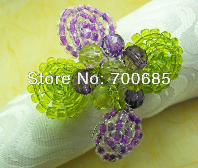 glass beades flower bulk napkin ring acrylic diamond wedding napkin