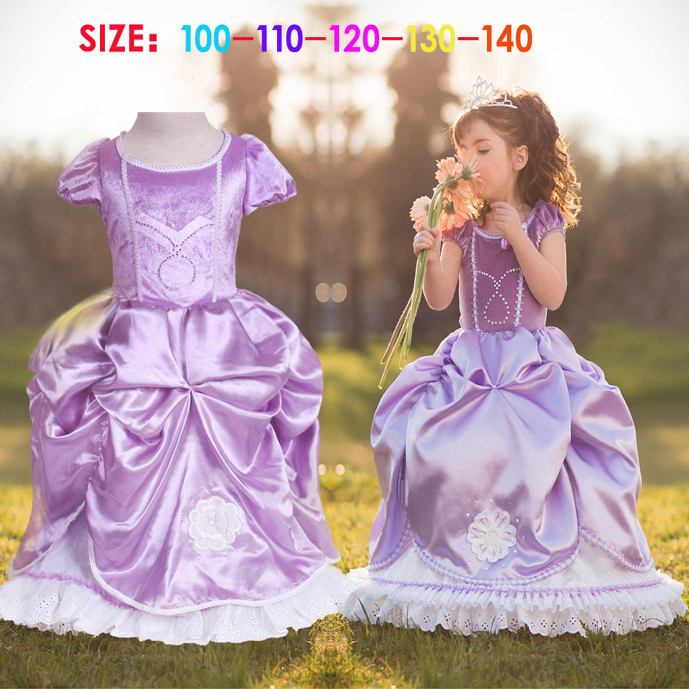 Fashion high quality cotton lining birthday party dress for girls princess sofia costumes for children