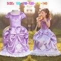Forro de algodón de alta calidad de la manera vestido de fiesta de cumpleaños para las muchachas princesa sofia trajes para niños