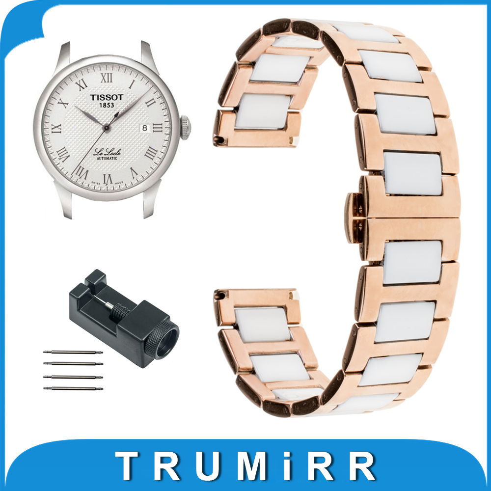 18mm 20mm Ceramic Stainless Steel Watch Band for Tissot T035 PRC200 T055 T097 Wrist Strap Butterfly