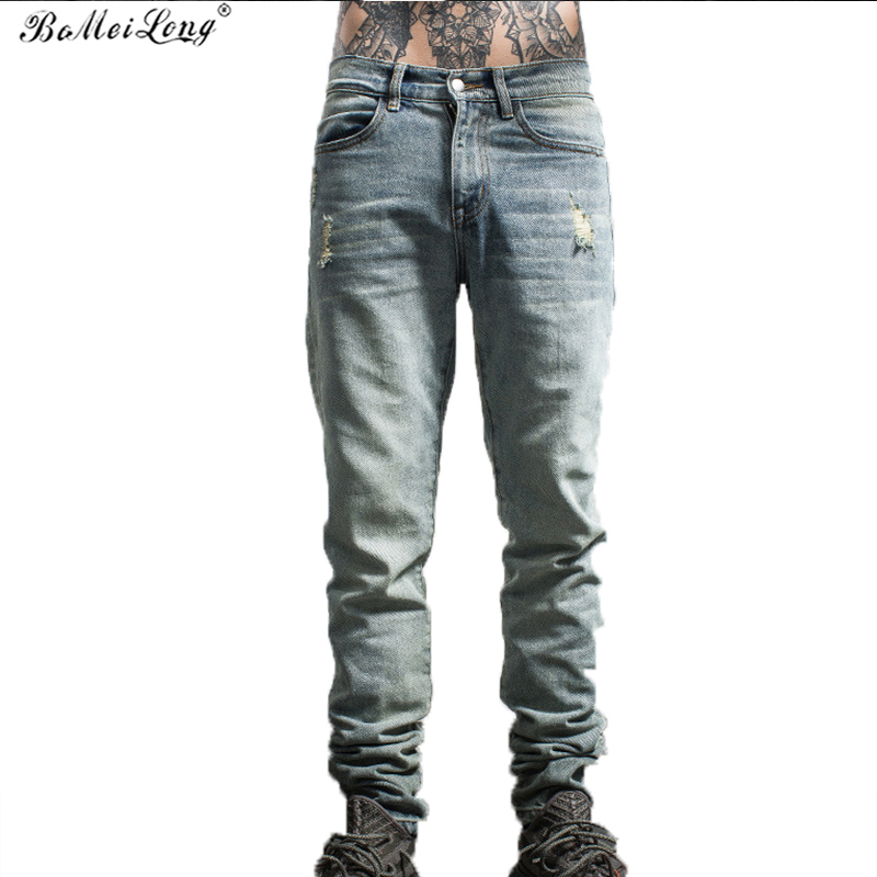 2017 New Fashion Straight Destroyed Jeans Men Brand Casual Slim Ripped Jeans Homme Retro Men's Trousers Stripe Denim Pants B0187 2017 fashion patch jeans men slim straight denim jeans ripped trousers new famous brand biker jeans logo mens zipper jeans 604