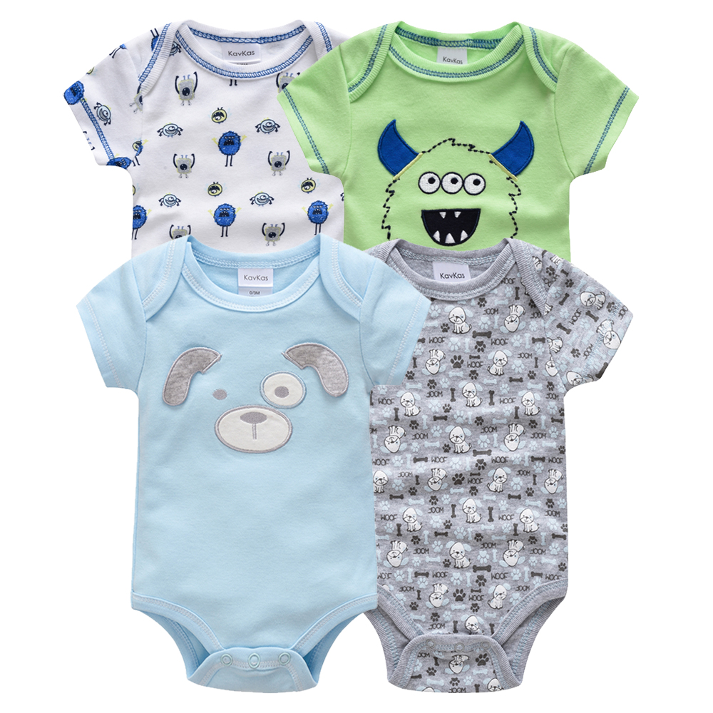 Kavkas/одежда для сна для маленьких мальчиков, комплект из 4 шт./компл., одежда с короткими рукавами для новорожденных, пижамы для мальчиков, Infantile, одежда для сна для маленьких мальчиков - Цвет: HY20802169