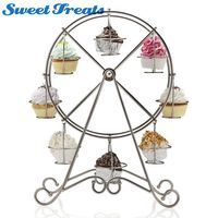 Sweettreats 8 Cup Metal Rotating Ferris Wheel Cupcake and Dessert Stand Holder, Chrome Finish, Updated Larger Cup Size