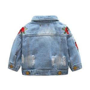 Image 2 - LILIGIRL Kids bluzki vintage odzież dla małe dziewczynki Denim kurtki 2019 Baby Rose Flower haftowane kurtki wiatrówka