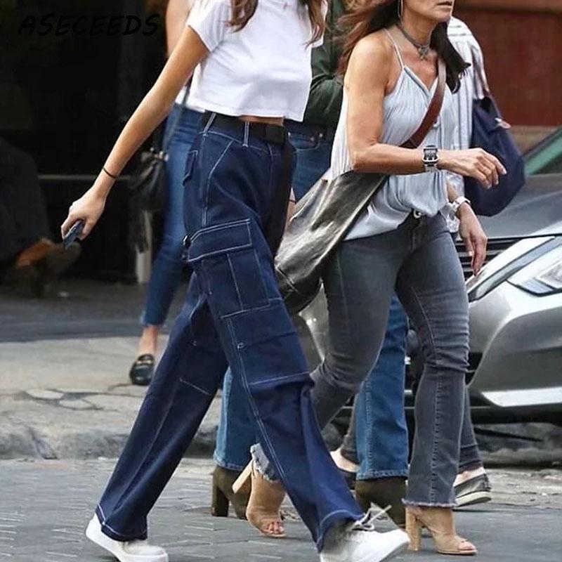 Summer Boho 2019 Women high waist   pants   korean loose cargo   pants   women trousers hop punk streetwear plus size   wide     leg     pants