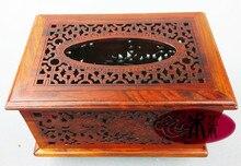 Деревянный дом из красного дерева красного дерева пирсинг ткани поле лоток насосных салфетка коробка резной деревянной мебелью Украшения подарки