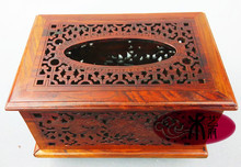 Wooden house mahogany red wood pierced tissue box tray pumping napkin box carved wooden furniture Decoration gifts