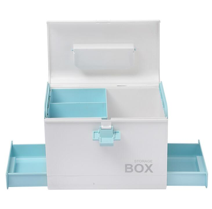 Household medicine box emergency medical storage box multi-function multi-layer grid plastic health box car small medicine box multi function aluminum plastic storage box silver
