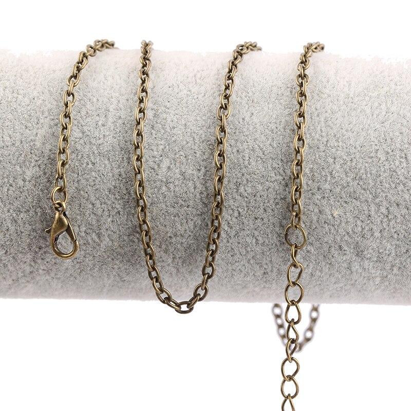 Onwear 5pcs 60cm 70cm 80cm Long Antique Bronze Vintage Necklace Chains For Diy Jewelry Making