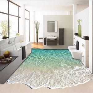 Image 3 - Custom Self adhesive Floor Mural Photo Wallpaper 3D Seawater Wave Flooring Sticker Bathroom Wear Non slip Waterproof Wall Papers