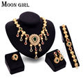 From India gold plate wedding jewelry set  2016 New design african Wedding bridal statement necklace set for women