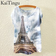 Women T Shirt Tops Eiffel Tower Printed (one size)