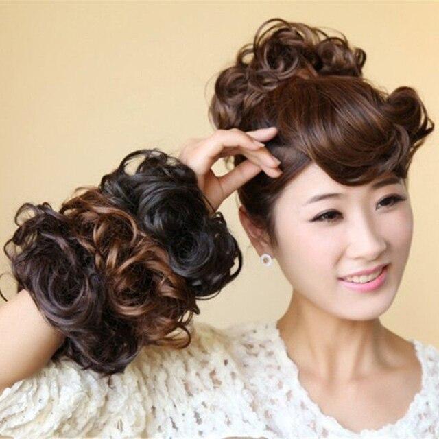 Us 2 68 Perucke Elastische Haarbander Fur Frauen Haarschmuck Lockiges Haar Donut Magie Brotchen Headwear Haarseil Madchen Prinzessin Frisur In