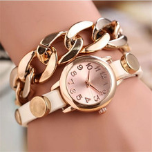 Womens Quartz Watches 1 PC PU Leather Wrap Analog Wrist Watch Stylish Gold Alloy Chain Female Watches Brands Wholesale 40M16