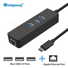 USB-C Hub with Gigabit Ethernet Adapter for Macbook Pro Dell XPS Lenovo Yoga 910 HP Spectre x360 USB Type C Hub to RJ45 Network цена и фото
