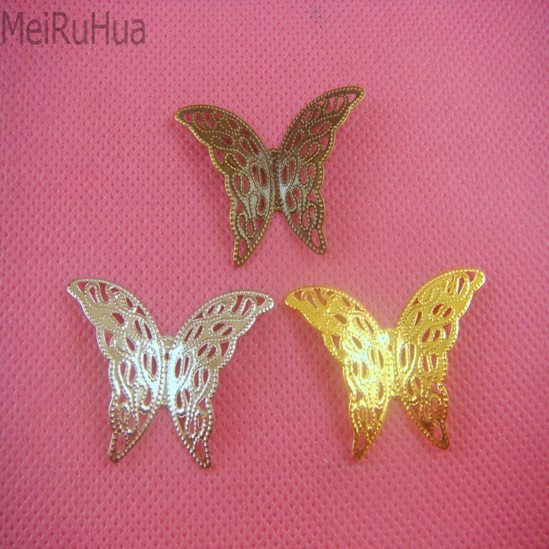 20 pcs/lot 39mmx25mm Metal Filigree Flowers Slice Butterfly Charms base Setting Jewelry DIY Components
