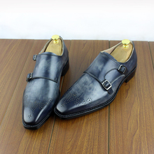 Micholediys Handmade Goodyear 맞춤형 뭉크 수소 영국 승려 웨딩 가죽 남성 새겨진 신발