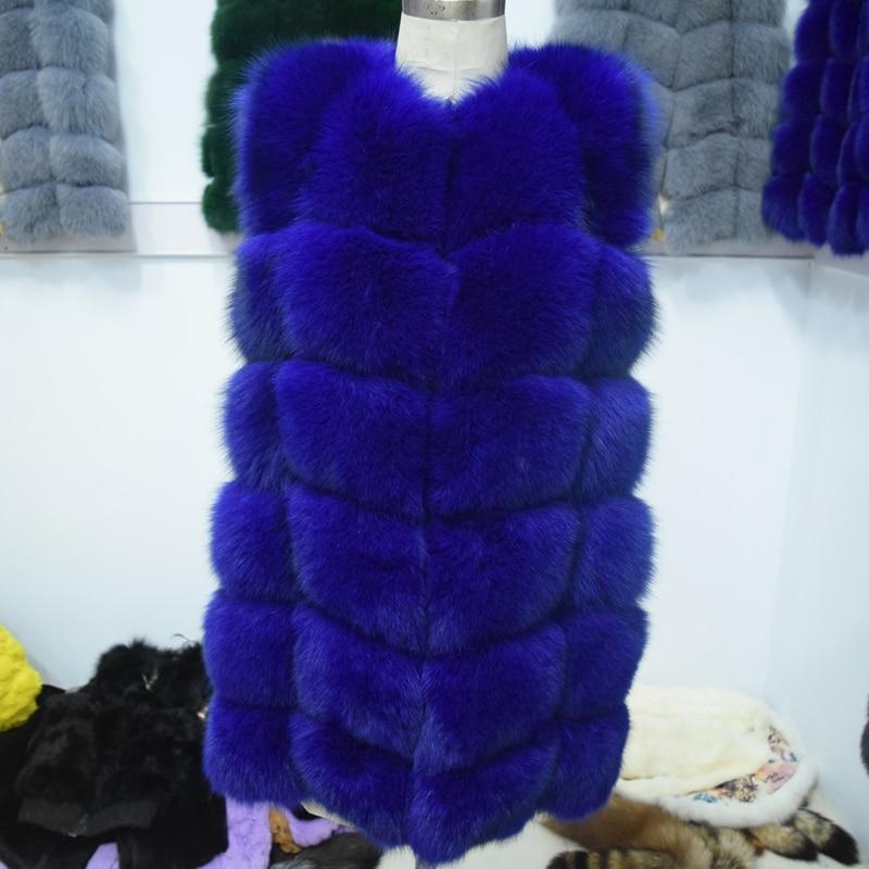 70CM Fluffy Real Fur Vest Winter Thick Silver Fur Coat Jackets for Women Sleeveless Medium Long Genuine Fur Vest Colete De Pele