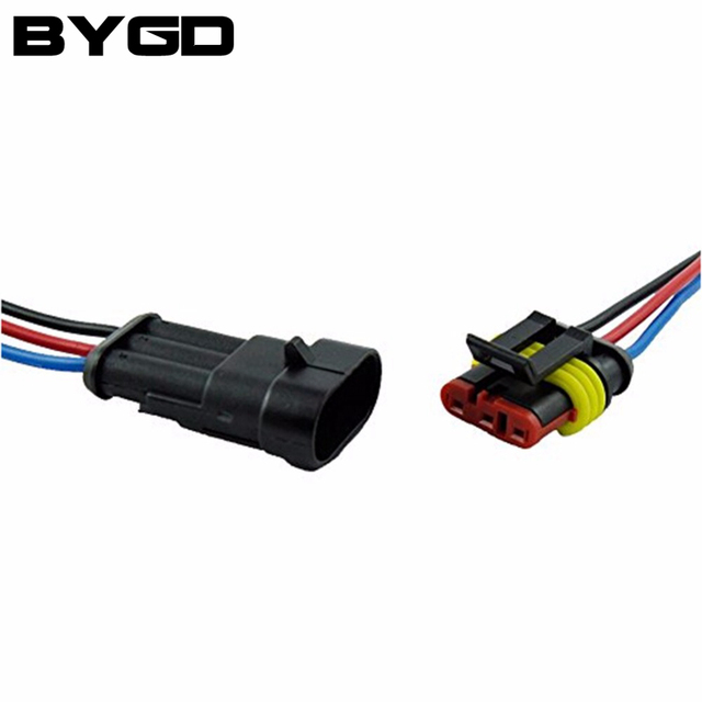 3 Pin 2 Way Waterproof Car Electrical Connector Plug with 10cm Wire ...