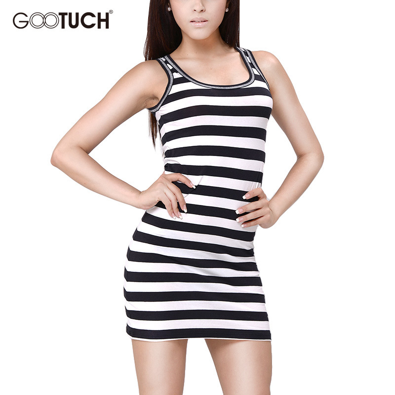 Summer Plus Size Nightwear Womens Cotton Sexy Striped   Nightgown   Sleeveless Full Slips Sleepwear   Sleepshirt   Mini Nightdress 7317