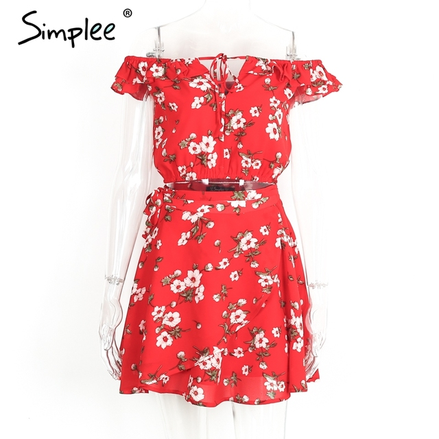 Simplee Two-piece red chiffon summer dress women 2017 Vintage party ruffles short dress Off shoulder beach dress vestido