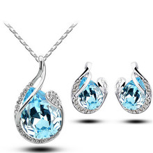 2014 brand jewelry sets wedding 18K white Gold plated austrian Crystal water drop fashion necklace earrings 80046