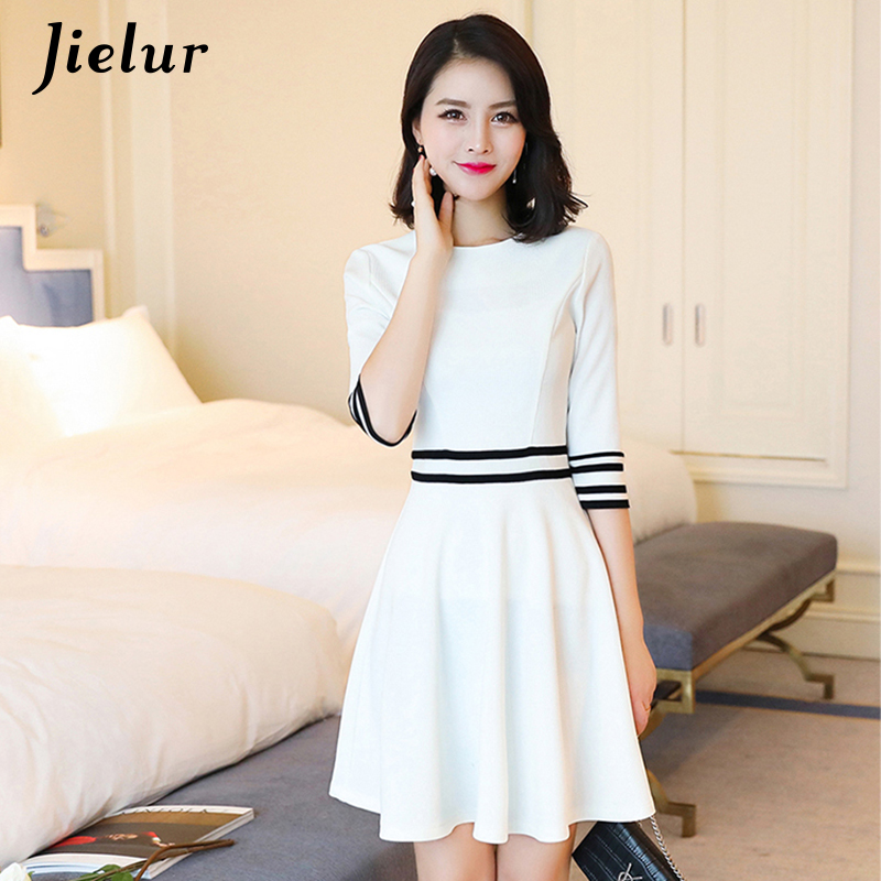Jielur Spring Half Sleeve Strfiped Dress White Grace Office Ladies Dresses Women S-XL Autumn Brief Korean Vestidos Dropshipping