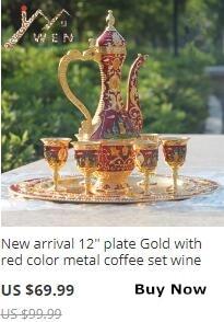 Coffee Set Sherbet Set Elegant Luxury Tea Set With Diamond Metal Hotel/ Room Decor 1 Set= 1 Plate+ 1 Pot +6 Cups