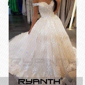 Image 2 - Женское свадебное платье Its yiiya, белое кружевное платье с открытыми плечами на завязках на спине на лето 2019