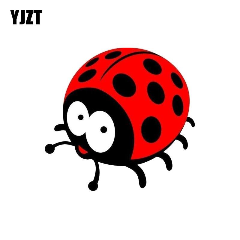 YJZT 12.4CM*11.8CM Cute Ladybug Reflective Car Sticker PVC Funny Decal 12-0552
