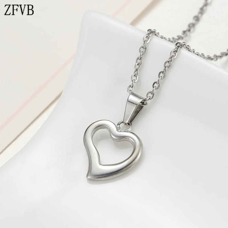 ZFVB 2019 Fashion Heart Necklace Women Jewelry Stainless Steel Silver color Heart Pendant Necklaces Dropshipping Collar Gift