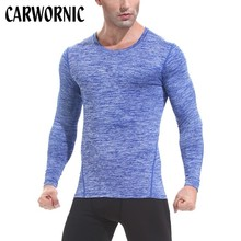 CARWORNIC Summer Workout T-shirt Men Long Sleeve Quick Dry Fitness T Shirt Mens Gyms Bodybuilding High-elasticity Solid