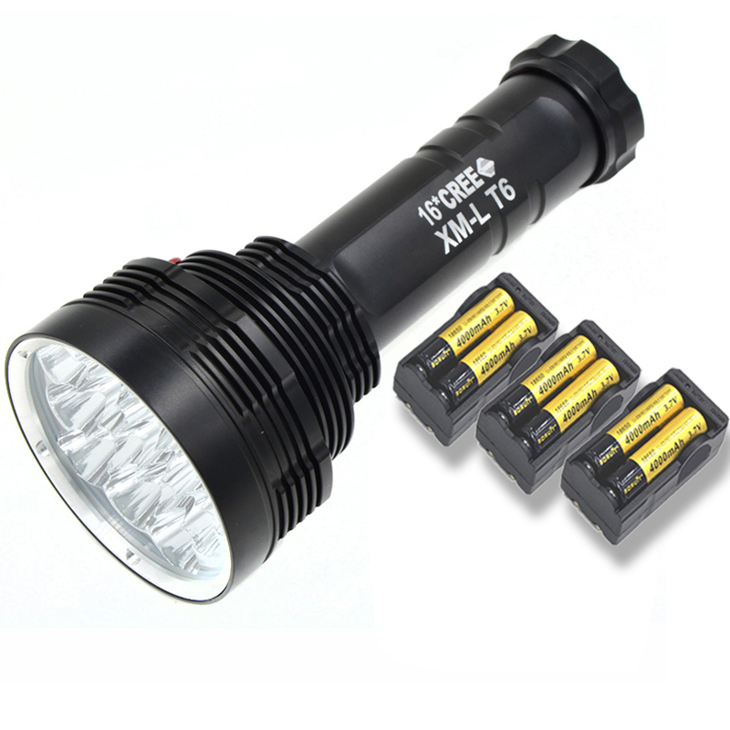 16 LED Flashlight S88 50W XM-L T6 Led Flashlight Super Bright Torch Light Camping Lamp Hunting 16000LM With 6*18650 Battery super 3000lm zoomable cree xm l t6 led 18650 flashlight torch super bright light 170118