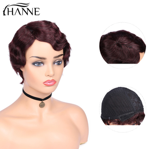 Image 5 - Perucas de cabelo humano curto da peruca da onda do dedo perucas de cabelo da mamã para a cor natural preta das mulheres/99j/4 #/27 #/30 # hanne cabelo
