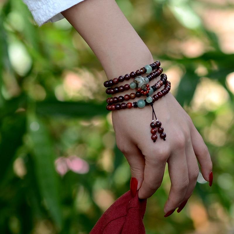 Beaded Bracelet vintage Dzi Beads pendant Bohhda Necklace natural stone handmade jewelry wrap charm Bracelets for women 2018