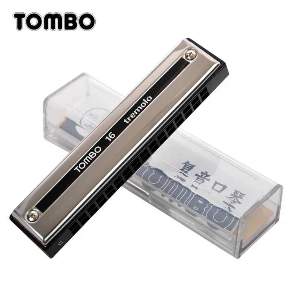 Tombo Tremolo 16 Harmonica 16 Holes 32 Reeds Tremolo Harp Key of C Musical Mouth Organ Brass Reeds Beginners ABS Comb Tombo 3116 easttop brass chromatic harmonica 16 hole brass abs comb musical instruments mouth organ chromatic slide harmonica good sound