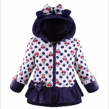 girls winter coat children cute polka dot hooded jacket outerwear kids girl warm clothing baby fashion cartoon clothes