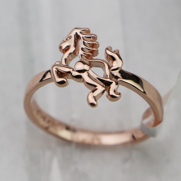 Popular metal alloy rose gold animal horse children ring jewelry for