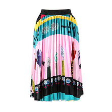 Waist Long Skirts Female  Retro Summer Patterns Fashion Character Pleated Skirt Women Elastic